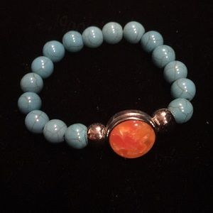 Turquoise color natural stone beaded bracelet